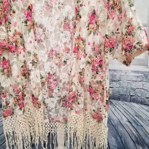 2513cfa9c Sweet Rain Tops | Rose Lace Kimono With Fringe Medium | Poshmark